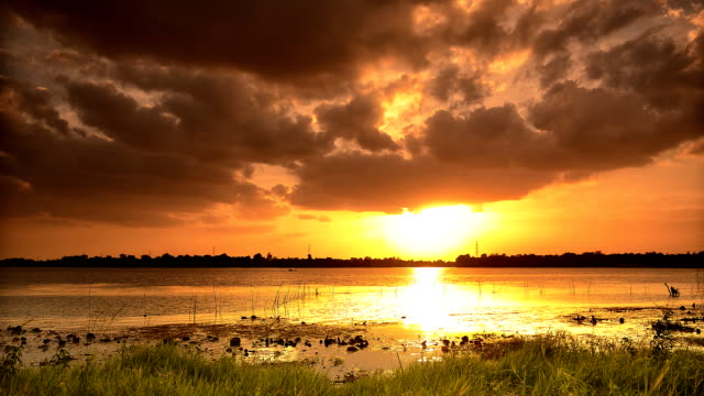 Sunset and lake in thailand video