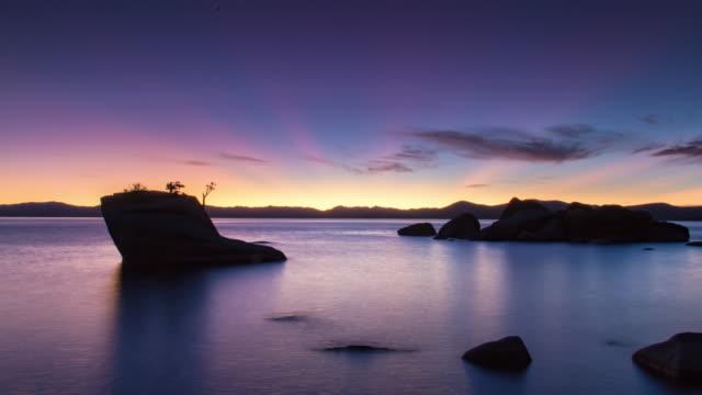 Sunset at Bonsai Rock in Lake Tahoe, California