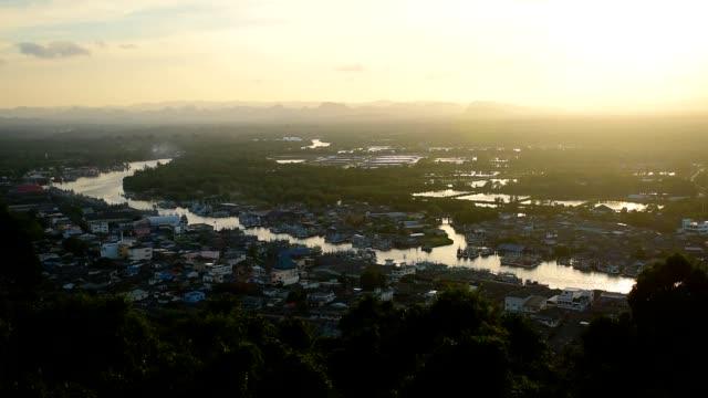 sunset at Chumphon estuary viewpoint, Thailand. video