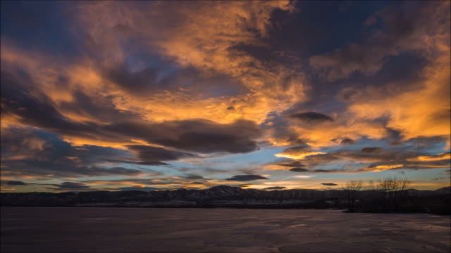 Sunset at Frozen Mountain Lake video