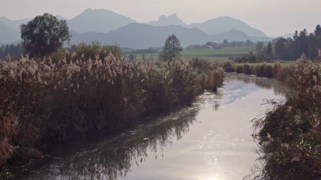 solnedgång vid sjön hopfensee i allgäu-alperna - flod vatten brygga bildbanksvideor och videomaterial från bakom kulisserna