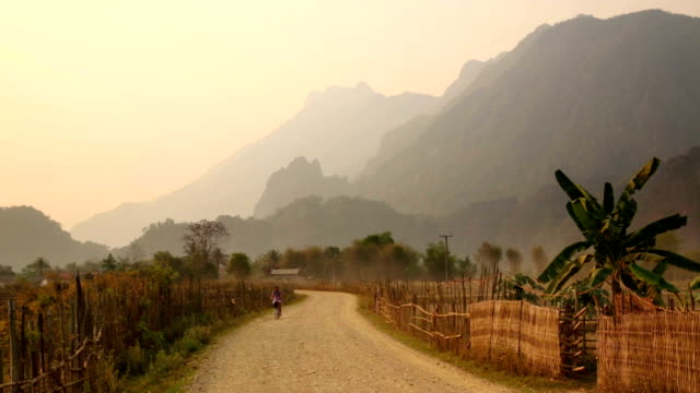 Sunset at limestone mountains of Vang Vieng, Laos video