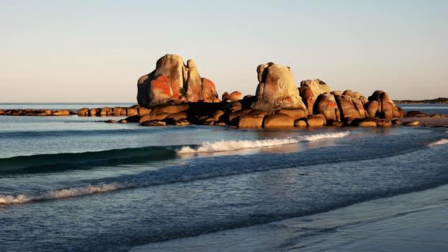 sunset at picnic rocks in tasmania, australia video