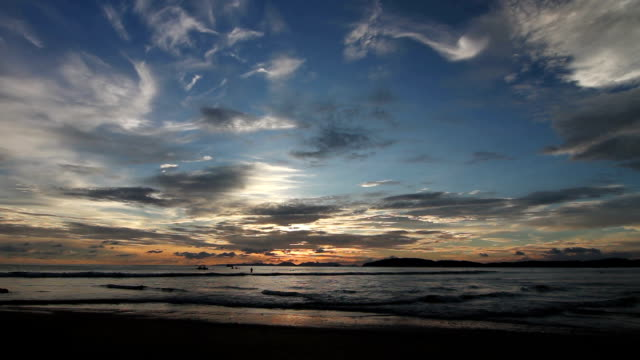 sunset at sea wide screen - sky diving video stock e b–roll