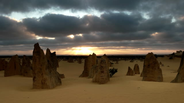 sunset at the pinnacles in western australia - western australia stock videos & royalty-free footage