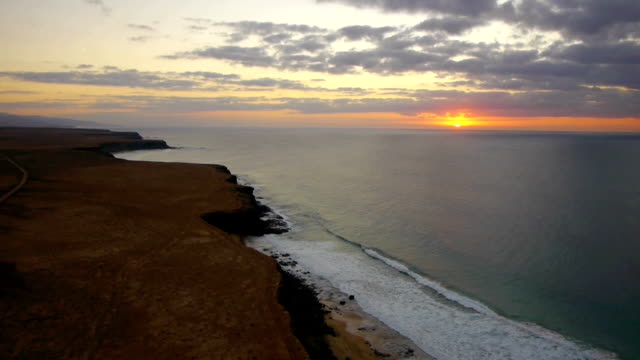 AERIAL: Sunset at the seaside video