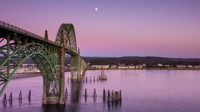 Sunset at Yaquina Bay Bridge - Time Lapse video