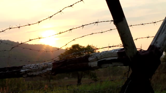 Sunset Behind Barbed Wire and Mountian video