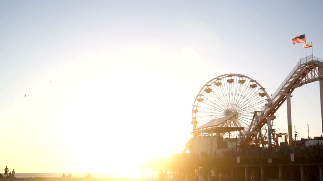 Sunset Behind Ferris Wheel on Santa Monica Pier video