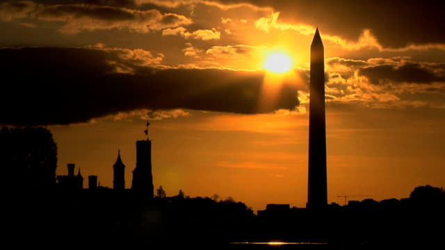 HD: Sunset Behind The Washington Monument video