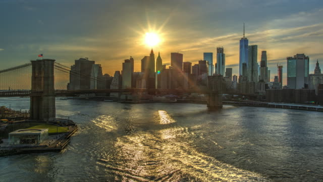 Sunset Brooklyn bridge New York cityscape skyline time lapse video