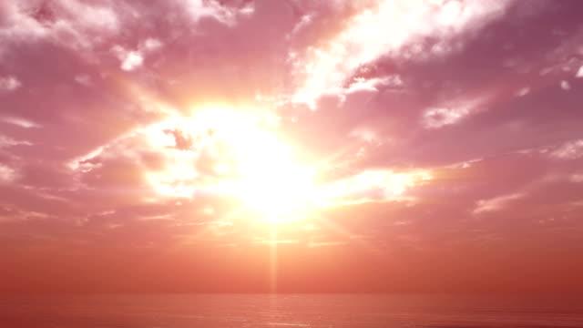 sunset calm sea clouds 4k