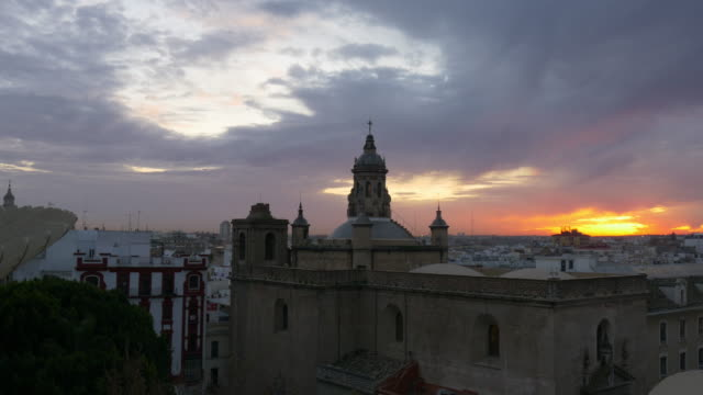 sunset cathedral seville panorama 4k spain video