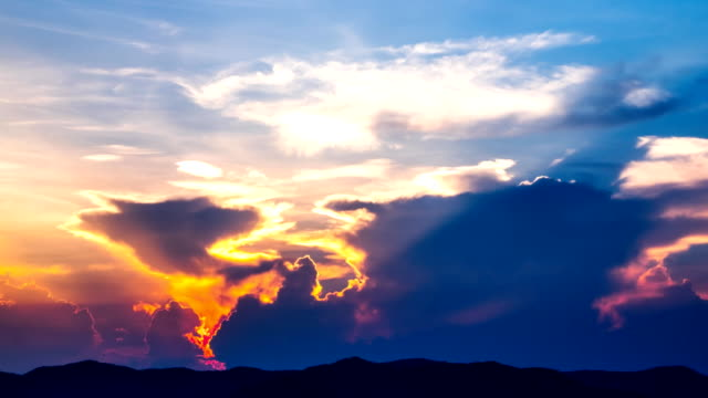 Sunset cloud Multiple Exposure, Cumulus Cloud, Majestic, Freedom saturated color stock videos & royalty-free footage