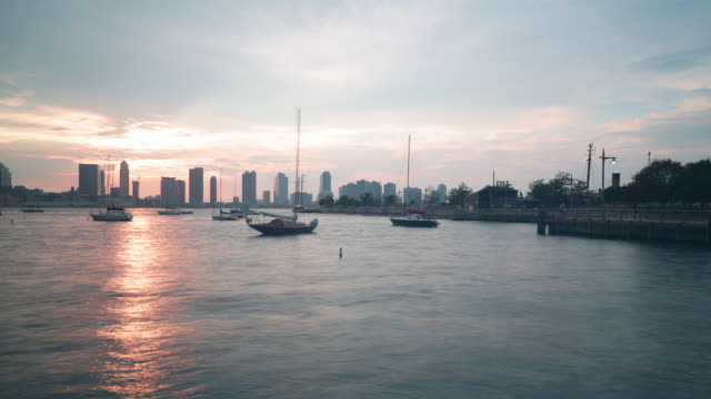 sunset dock with jersey city view 4k time lapsefrom new york video