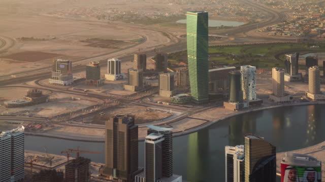 sunset dubai city marina roof top panorama 4k time lapse united arab emirates video