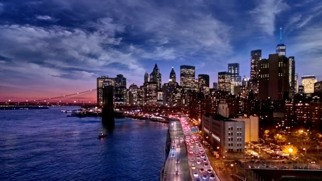 Sunset, dusk and night over the Lower Manhattan video