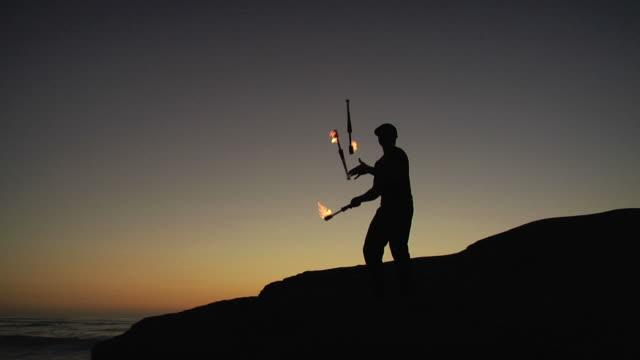 sunset fire juggling video
