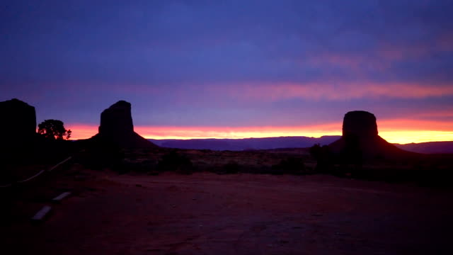 A Sunset Full of Saturated Color Falls over Monument Valley