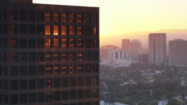 Sunset Glow on Modern Office Towers in Century City, Los Angeles - Drone Shot video