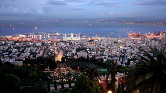 Sunset in Haifa taken from Bahai Garden video
