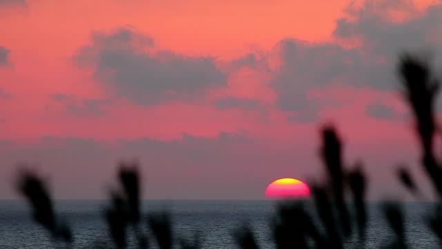 Sunset in Mediterranean sea video