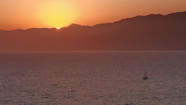 AERIAL Sunset in Santa Monica, California