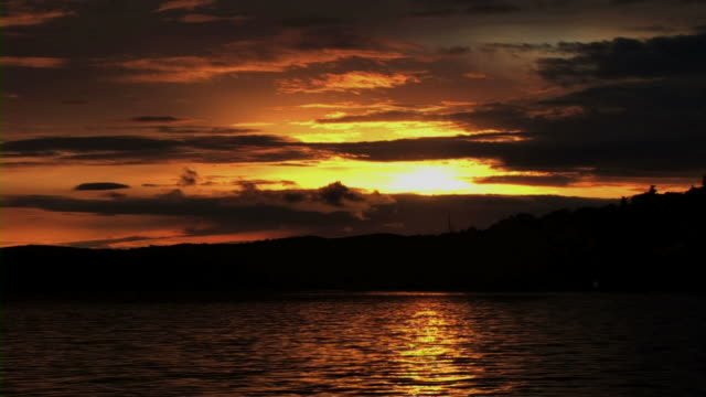 Sunset in sea video