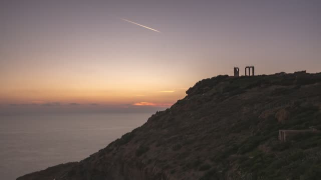Sunset in Sounio Sunset timelapse in Sounio, in the Poseidon's Temple near Athens. sounion stock videos & royalty-free footage