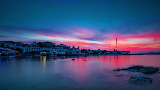 Sunset in Spetses, Greece video
