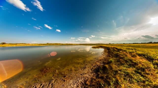 Sunset in the steppe. Inner Mongolia. 4k video