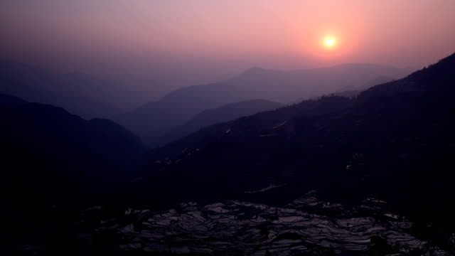 Sunset in Tiger mouth(Laohuzui)terraced fields video
