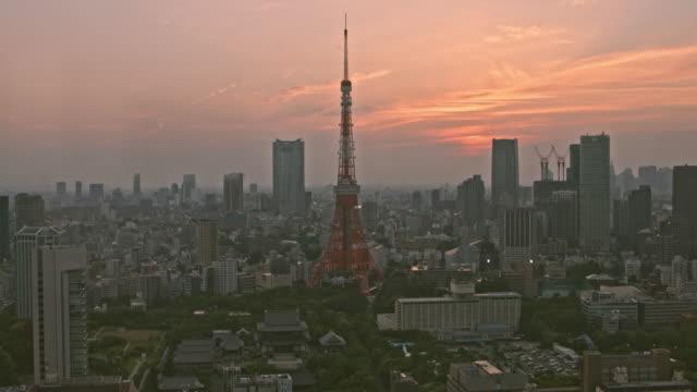夕暮れ時の東京 - 東京タワー点の映像素材/bロール