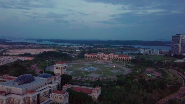 Sunset Kota Iskandar aerial view Mosque and government office, Iskandar Puteri, Johor Bahru johor bahru stock videos & royalty-free footage