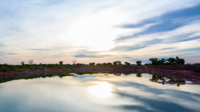 vidéos et rushes de paysage coucher de soleil sur le lac - lac reflection lake