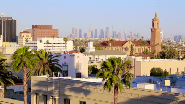 Sunset Light Los Angeles Aerial View Cityscape video