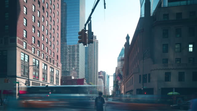 sunset manhattan crossroad 4k time lapse from new york video