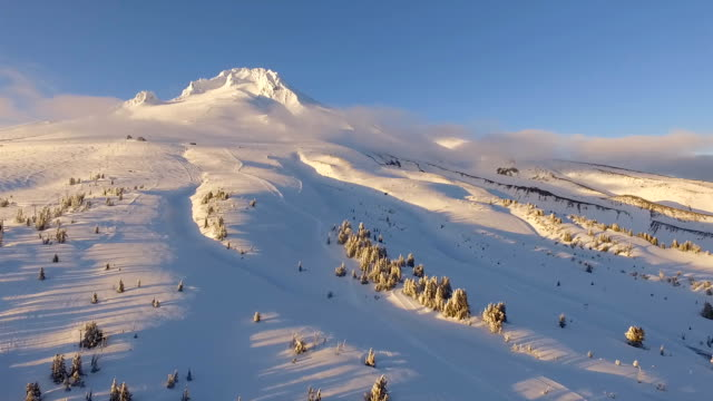 Sunset Mount Hood Timberline Cascade Range Fresh Snow Aerial