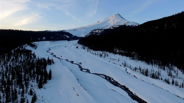 Sunset Mount Hood Timberline Meadows Creek Fresh Snow Aerial