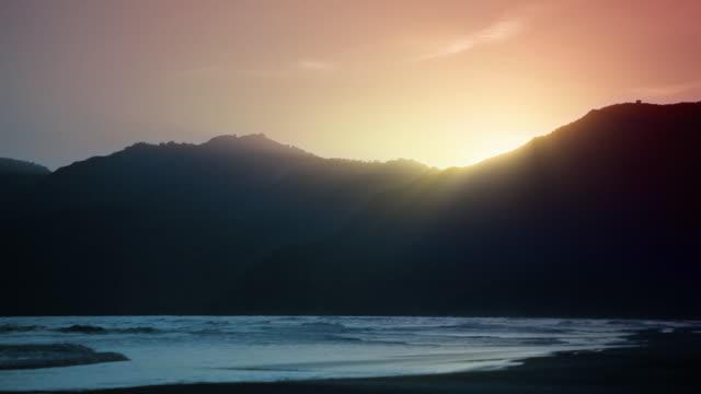 Sunset, mountains, sea video
