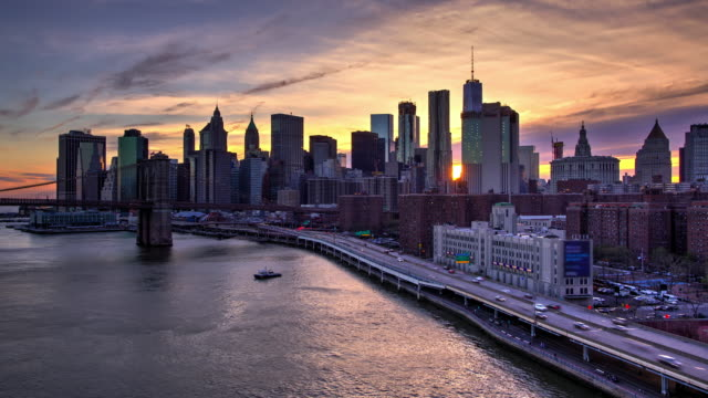 HDR sunset New York City time lapse downtown Manhattan video