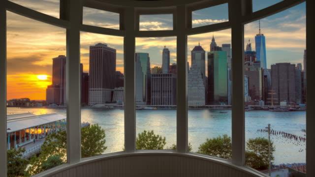 Sunset New York cityscape time lapse window panorama cityscape Manhattan video