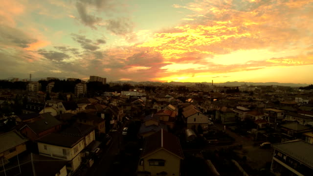 sunset of japanese residential area - dusk stock videos & royalty-free footage