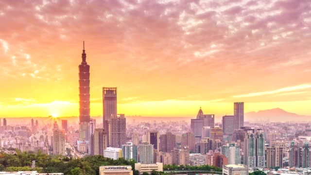 Sunset of  Taipei city from day to night video