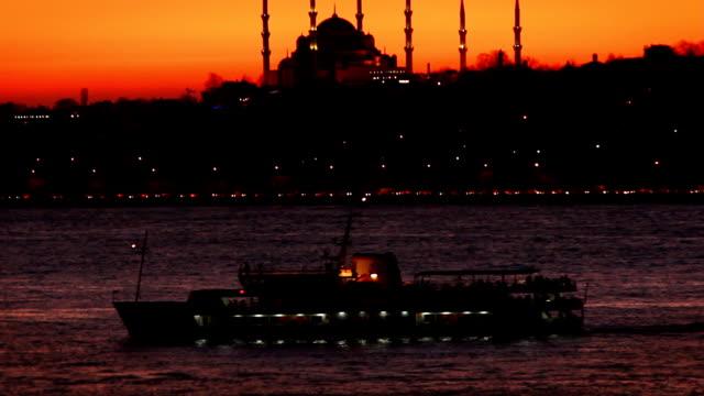 Sunset of the Hagia Sophia from Bosphorus Strait video