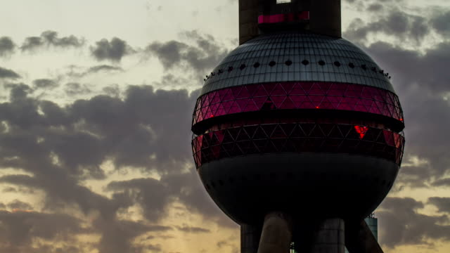 Sunset of the Oriental pearl TV tower video
