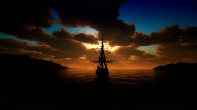 sunset old ship sails from the port 4k - columbus day filmów i materiałów b-roll