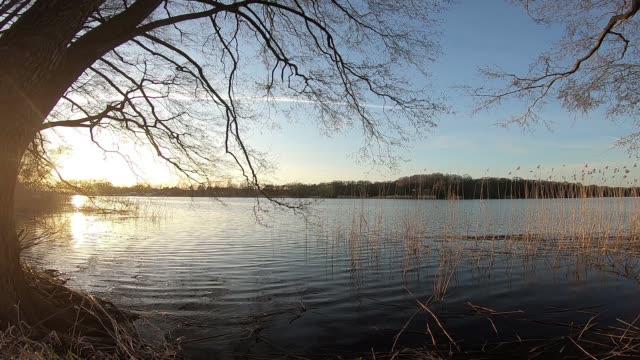 sunset on a lake - спокойная вода стоковые видео и кадры b-roll
