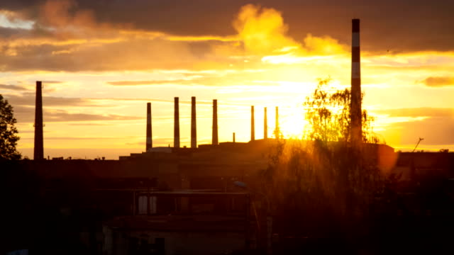 Sunset on an industrial background video
