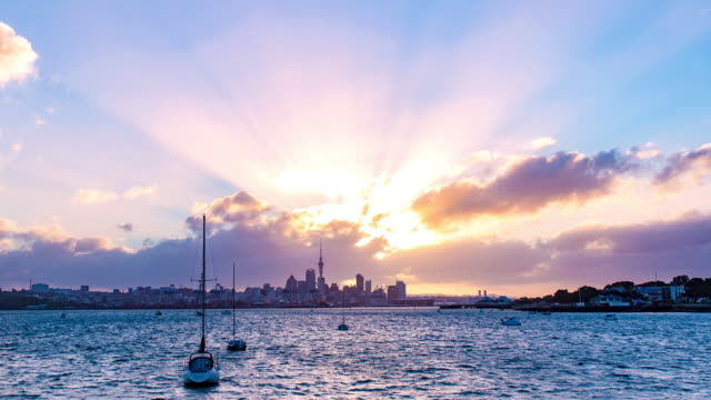 Sunset on Auckland city skyline with boat on the sea video
